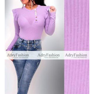 Halvány lila színű vékony bordás női felső arany gomb díszítéssel kerek nyakú