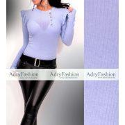 Világos kék színű vékony bordás női felső arany gomb díszítéssel kerek nyakú