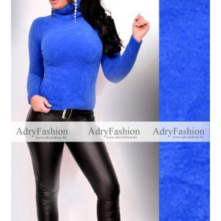 Kék színű mohair szőrmés kötött pulóver S es