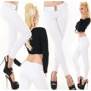 Fehér színű női nadrág övvel