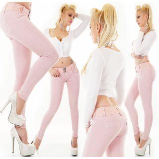 Mályvás Rózsaszín színű női nadrág övvel
