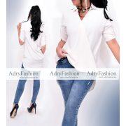 Krém színű elöl rövidebb hátul hosszabb női ing