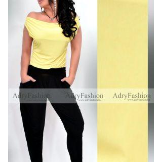 Sárga színű kámzsás felső és zsebes nadrág szett 2 részes szett
