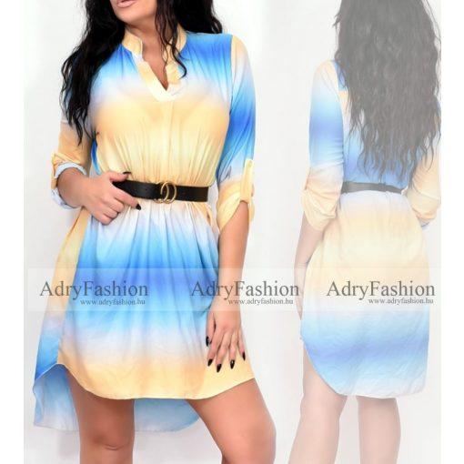 Sárga kék lila színű színátmenetes  női ingruha övvel