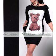 Fekete alapon nagy maci mintás zsebes női tunika