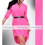 Pink színű hosszú női ingruha fekete övvel