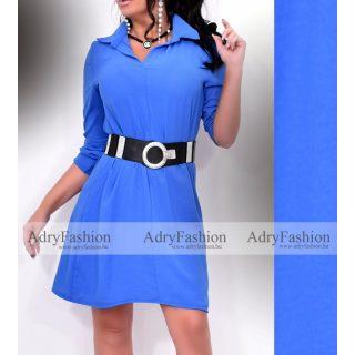 Zora kék színű 3/4-es ujjú női ingruha - öv nélkül