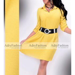 Zora  sárga színű 3/4-es ujjú női ingruha - öv nélkül