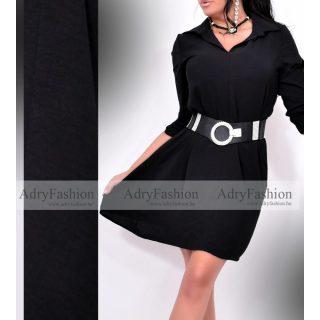 Zora Fekete színű 3/4-es ujjú női ingruha - öv nélkül