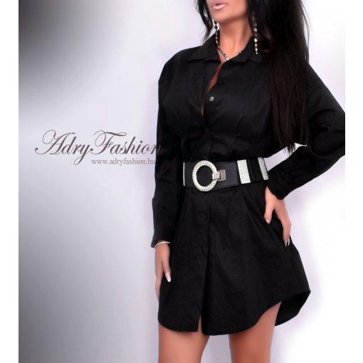 Fekete színű hosszú női ing derekánál karcsúsított - öv nélkül