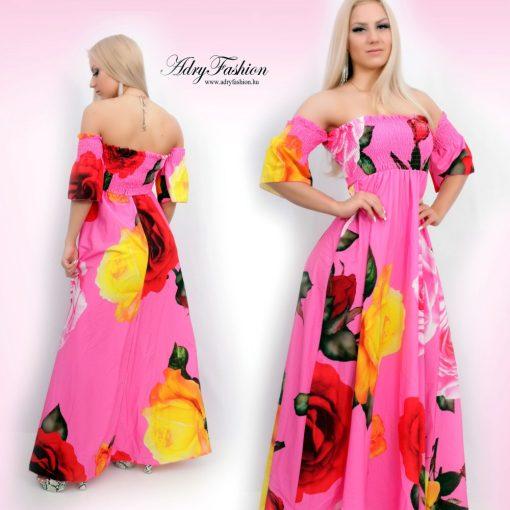 Rózsaszín alapon nagy rózsa mintás női Maxi ruha