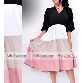 Fekete fehér bézs púder színű csíkozott női ruha