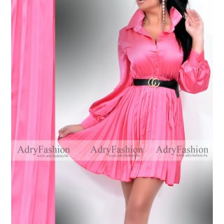 Pink színű legyező hatású rakott selyem női ing ruha  fekete övvel