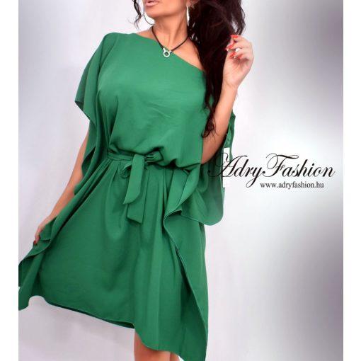 Fű zöld színű derekánál megkötős lepel ruha