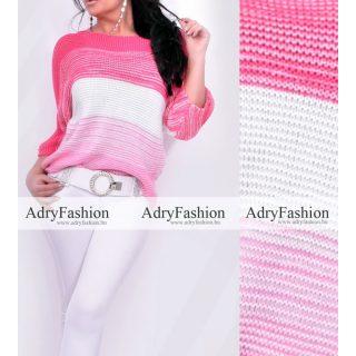 Rózsaszín fehér színű kötött női felső