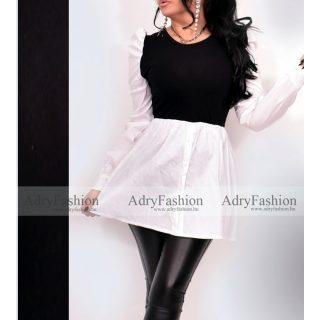 Fekete fehér női ingruha gumírozott derékkal