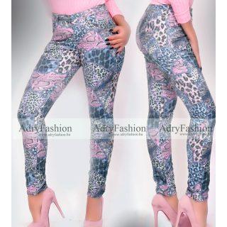 Kék rózsaszín párduc mintás farmer nadrág
