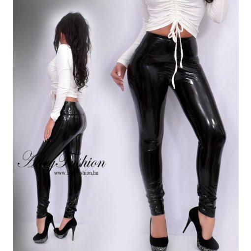 Fekete műbőr  hatású lakk hatású legging