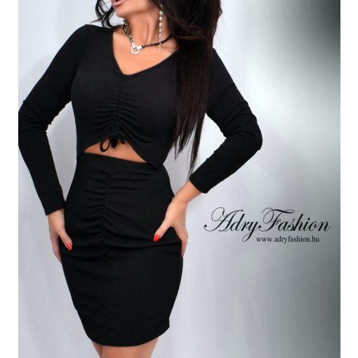 Fekete színű bordázott női ruha gumírozott