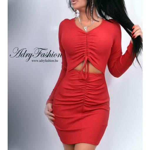 Piros színű bordázott női ruha gumírozott
