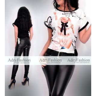 Fashion fekete fehér színű csajos mintás női felső oldalán megkötővel