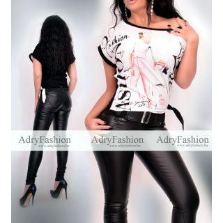 Fashion fekete színű csajos mintás női felső oldalán megkötővel