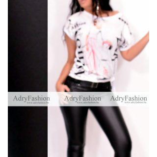 Fashion fehér színű csajos mintás női felső oldalán megkötővel