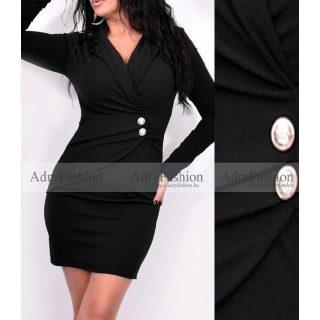 Fekete színű átlapolt gombos alkalmi női ruha