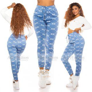 Kék fehér selyem hatású szabadidő nadrág S/M
