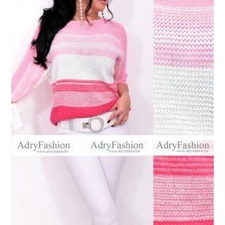 Rózsaszín fehér pink vékony kötött színátmenetes női felső