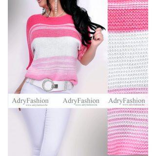 Pink fehér rózsaszín vékony kötött színátmenetes női felső