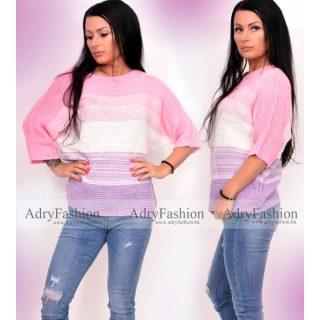 Rózsaszín fehér lila cirtás színátmenetes vékony kötött női felső
