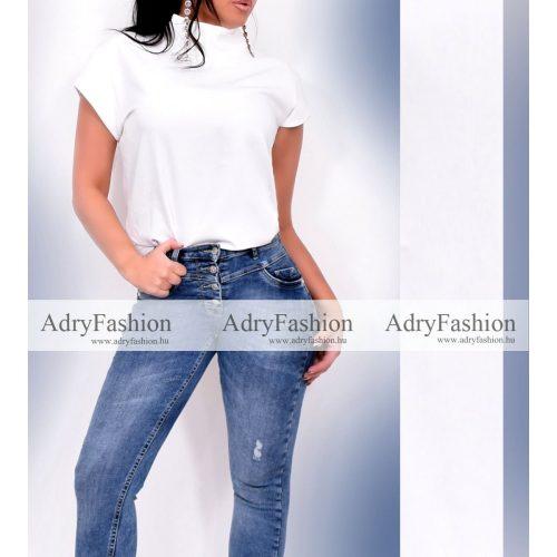Fehér színű irodai blúz - garbós elegáns business női felső