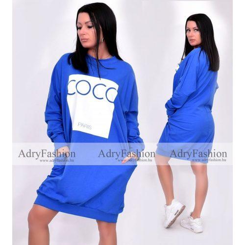 Királykék színű lenge zsebes női ruha COCO