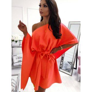 Neon Narancs színű Lepel ruha derekán megkötős