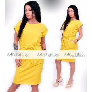 Pamut zsebes csini női ruha sárga színű