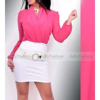 Pink színű átlapolt body hosszú ujjú
