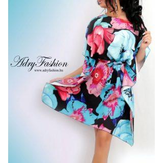 Fekete alapon kék rózsaszín zöld színű nagy virágmintás női lepel ruha