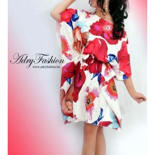 Fehér alapon színes nagy virágmintás női lepel ruha