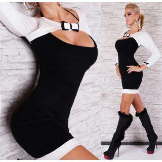 Fehér fekete vékony kötött masni díszes női ruha M/L