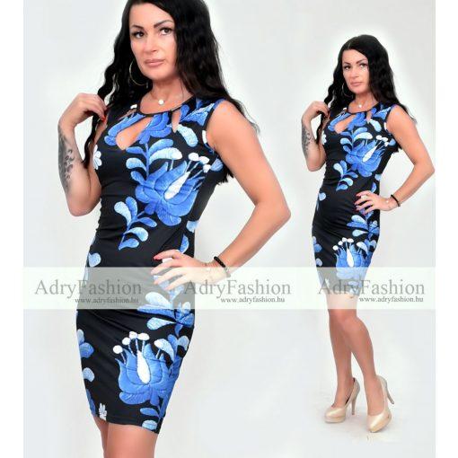 Fekete alapon kék virág mintás Rensix alkalmi női ruha