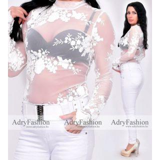 Tört fehér színű elasztikus tüll női body, virágos mintázattal