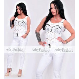 Tört fehér sztreccs, mintás női trikó