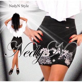 NedyN fekete fehér csipke díszes elegáns alkalmi női szoknya