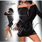NedyN fekete bőrhatású madzagos lenge női ruha