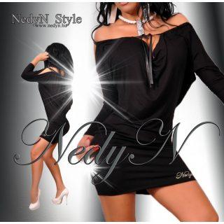 NedyN fekete madzagos lenge női ruha
