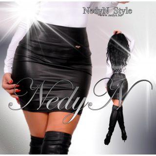 NedyN fekete bőrhatású női szoknya