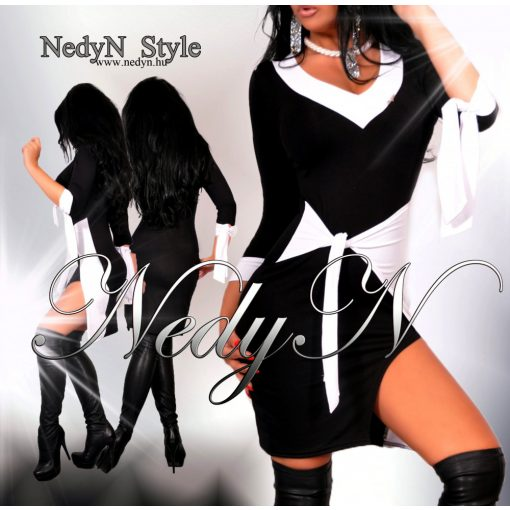 NedyN fekete fehér poliamid női ruha megkötős