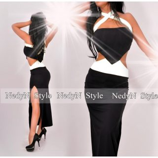 NedyN fehér fekete poliamid oldalán nyitott maxi női ruha