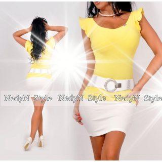 NedyN sárga vállánál hullám fodros poliamid felső